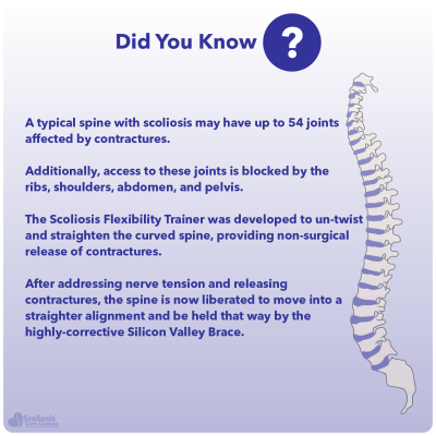 Short blurb about contractures in the spine and the Scoliosis Flexibility Trainer