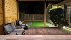 Local rental accommodations photo of patio at night