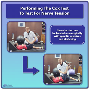 Example of Cox test being used for nerve tension screening
