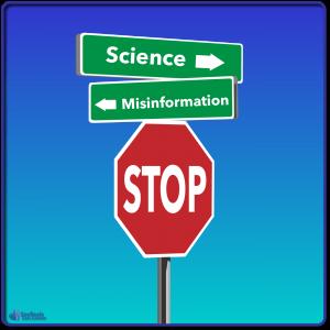 Science versus misinformation road signs